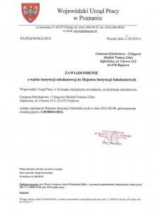 Wojewódzki Urząd Pracy w Poznaniu | Wpis do Rejestru Instytucji Szkoleniowych