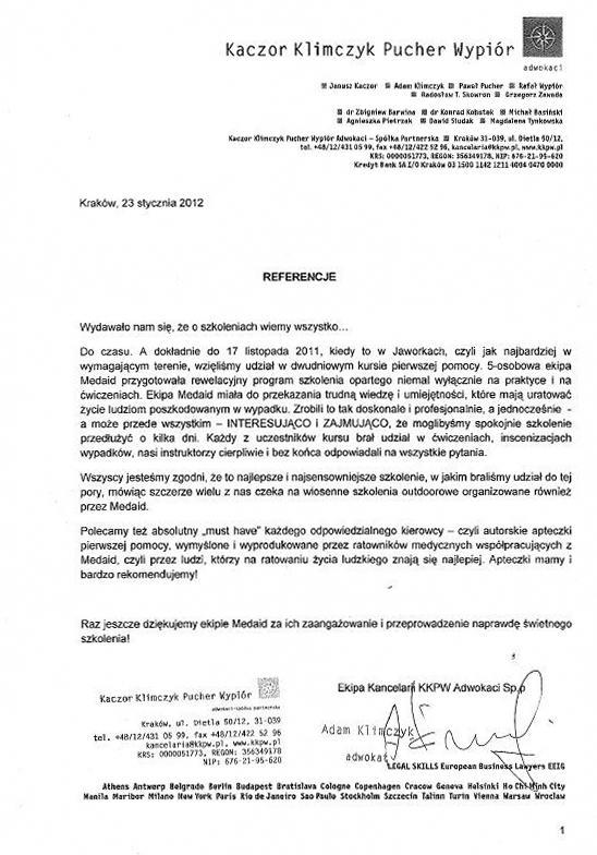Kaczor Klimczyk Pucher Wypiór Adwokaci Spółka partnerska