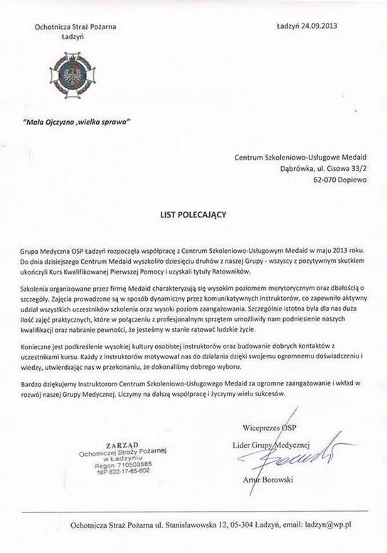 Referencje OSP Ładzyń