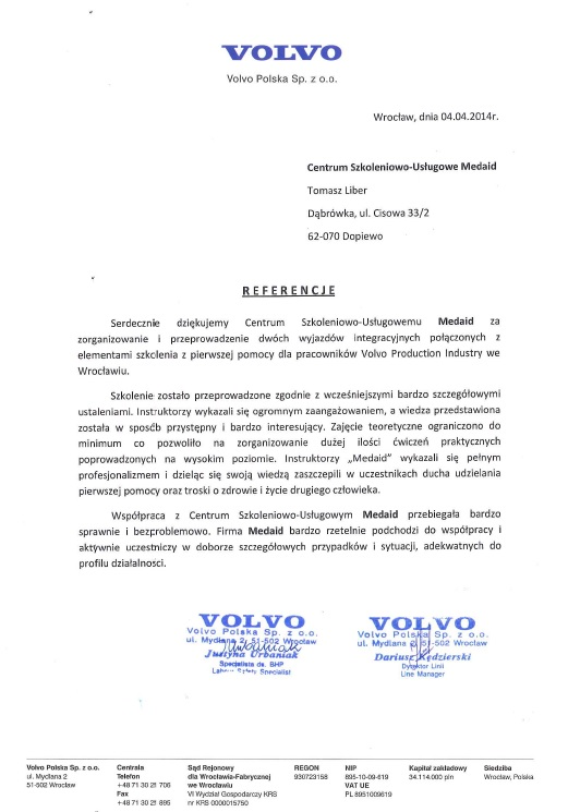 Referencje Volvo