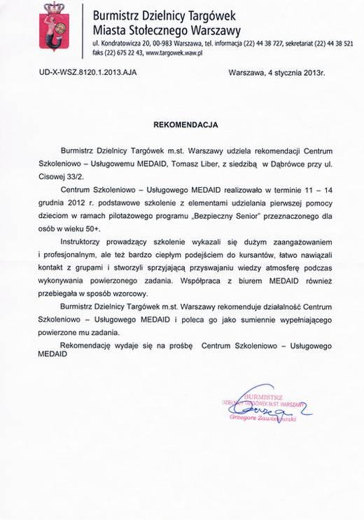Referencje Burmistrz Dzielnicy Targówek M. St. Warszawy