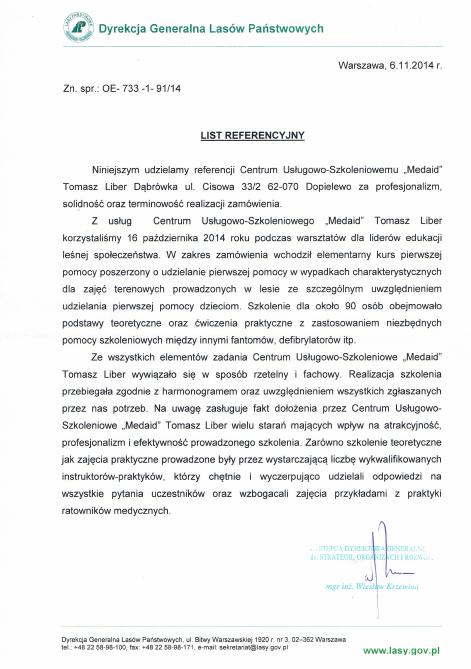 Referencje Dyrekcja Generalna Lasów Państwowych